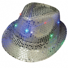 Silver Flashing LED Trilby Hat - 3 Functions